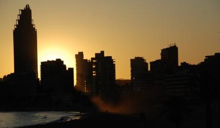 Benidorm. Stygg by med ein fin solnedgang!