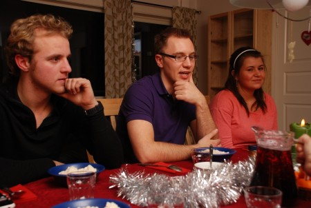 Me hadde folk på graut i SB og middag ein dag - ellers så vart med invitera kvar dag!